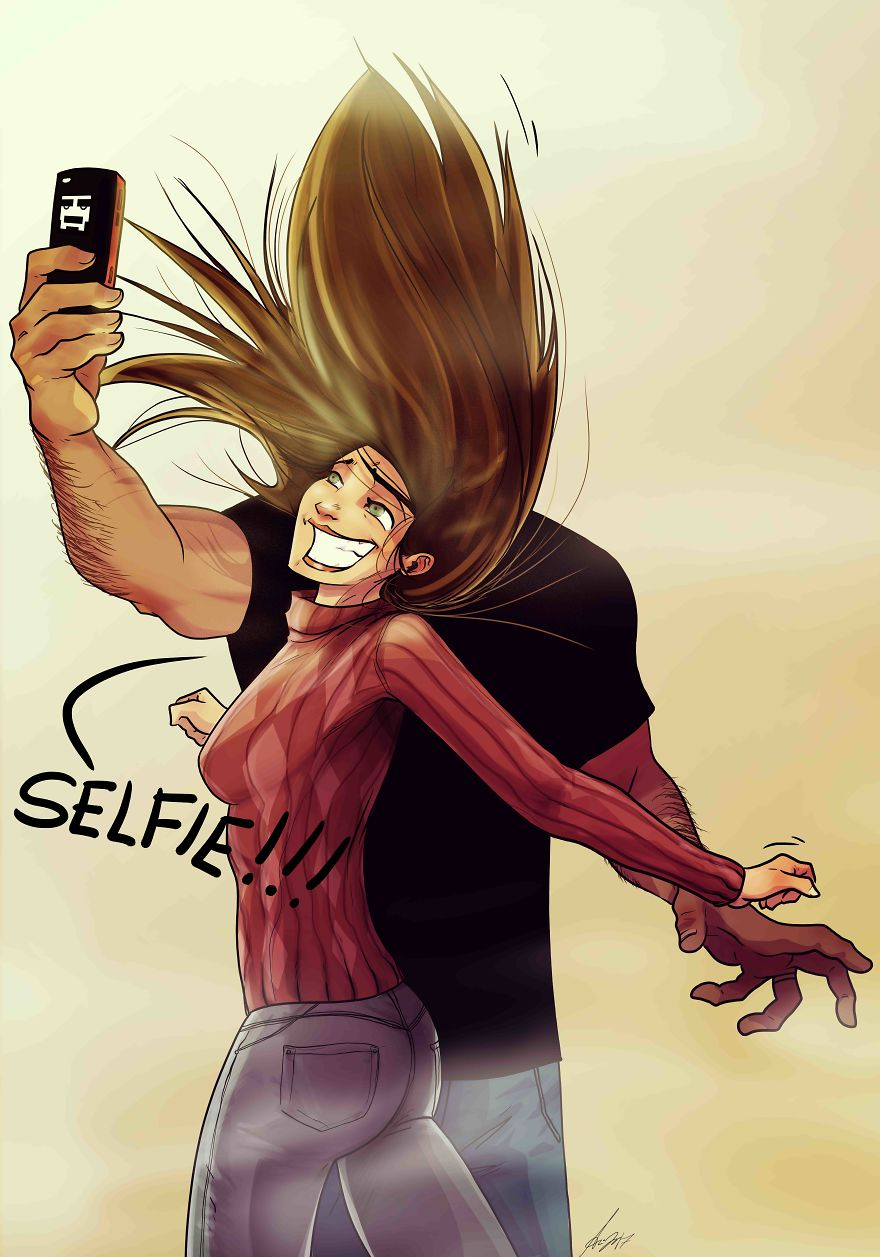 Husband and wife take a selfie - Funny Cartoon