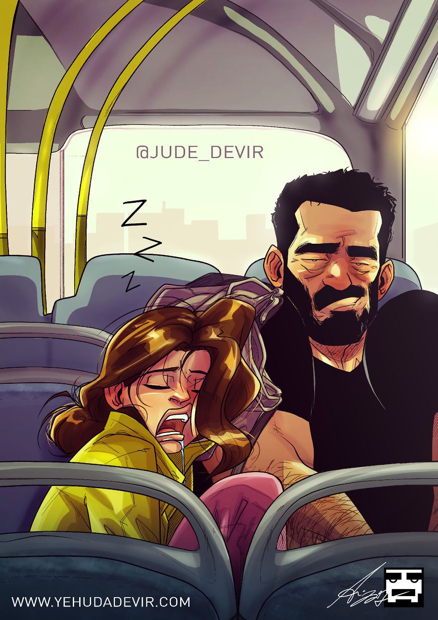 Husband is wife's travelling pillow - Funny Cartoon