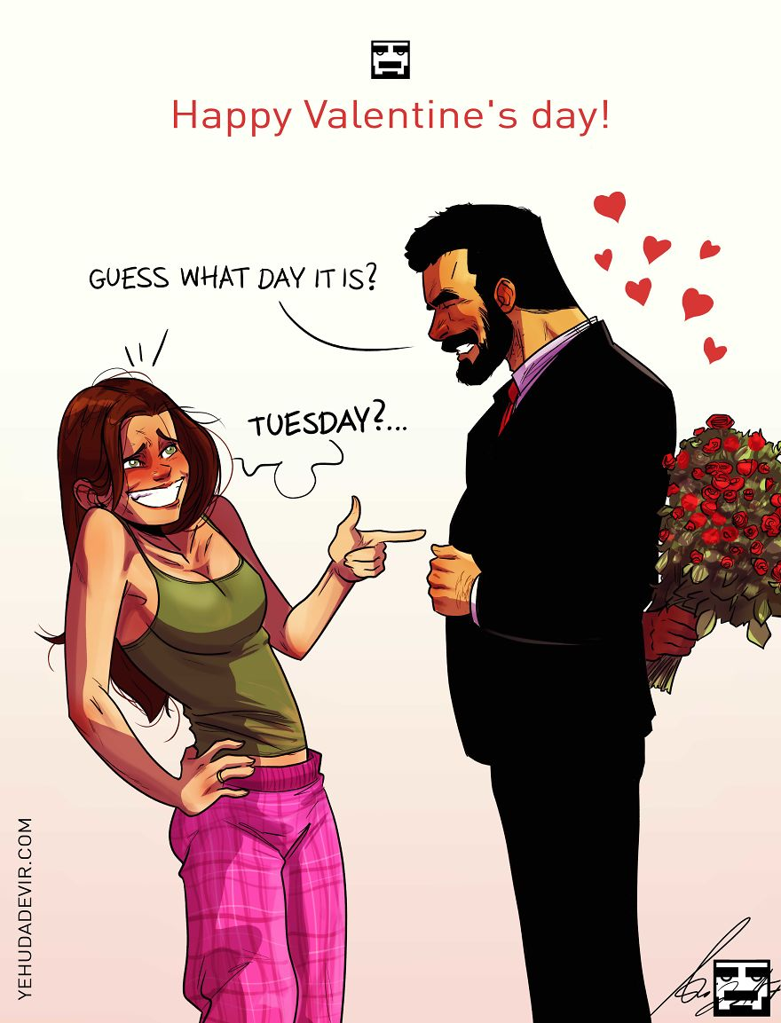 Wife forgets valentine's day - Funny Cartoon