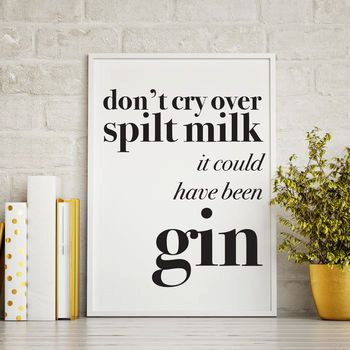 Fun Gin Quote: Don't cry over spilt milk